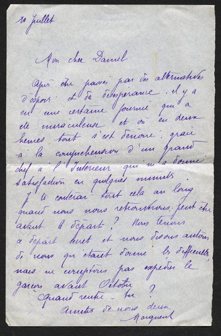 Lettre de Marguerite Rosmer à Daniel Martinet, 10 juillet 1939