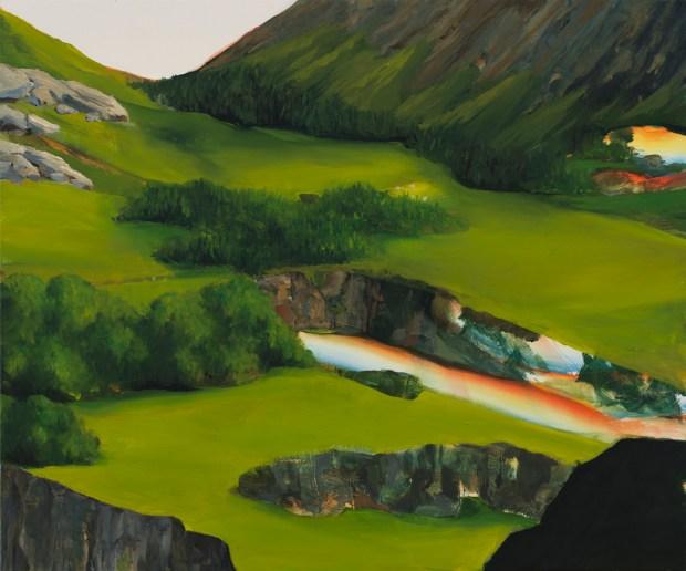 """David Lefebvre, """"Montagne V"""", huile et acrylique sur toile, 46x55 cm, 2015. Courtesy Galerie Zürcher, Paris - New York"""