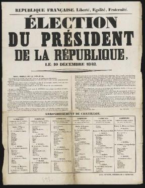 Election du président de la République, 10 décembre 1848 - Liberté Egalité Fraternité