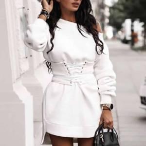 Robe épaisse Hiver femmes col rond à manches longues polaire + ceinture