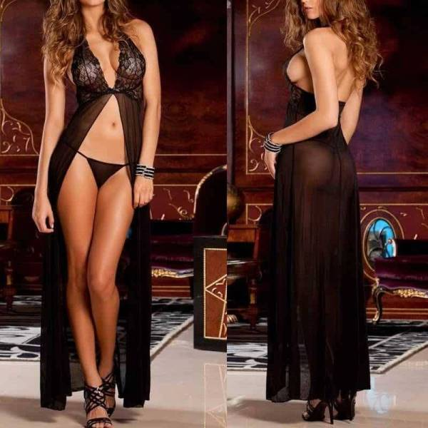 Robe de nuit longue en dentelle, Sexy