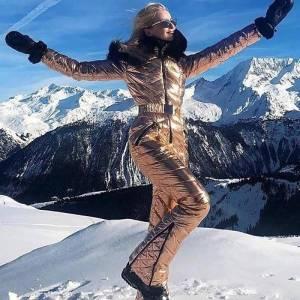Combinaison de Ski à capuche avec col en fourrure