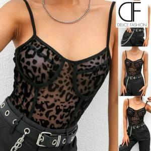 Body léopard transparent en maille Sexy