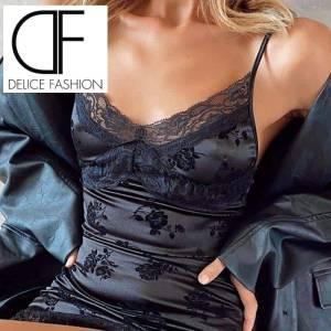 Mini robe de soirée en dentelle pour femmes, sans manches, motif Floral, bretelles Spaghetti, dentelle, moulante, élégante, tenue de soirée