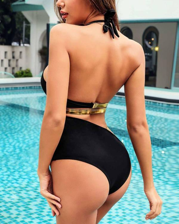 Maillot de bain monokini Sexy noir or 5