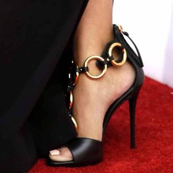 Sandales spartiates en cuir noir, Sexy, fermeture éclair au dos, talons aiguilles, chaussures de soirée à talons hauts