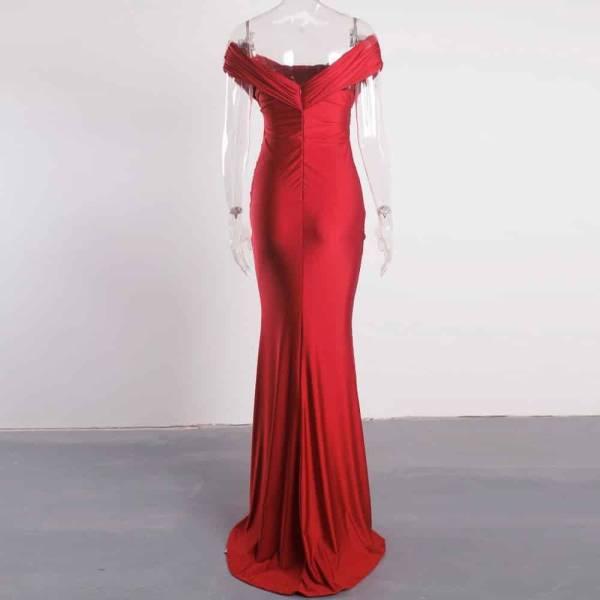 Robe de soirée longue, rouge foncé, extensible, sans manches, plissée, épaules dénudées, fente latérale 6