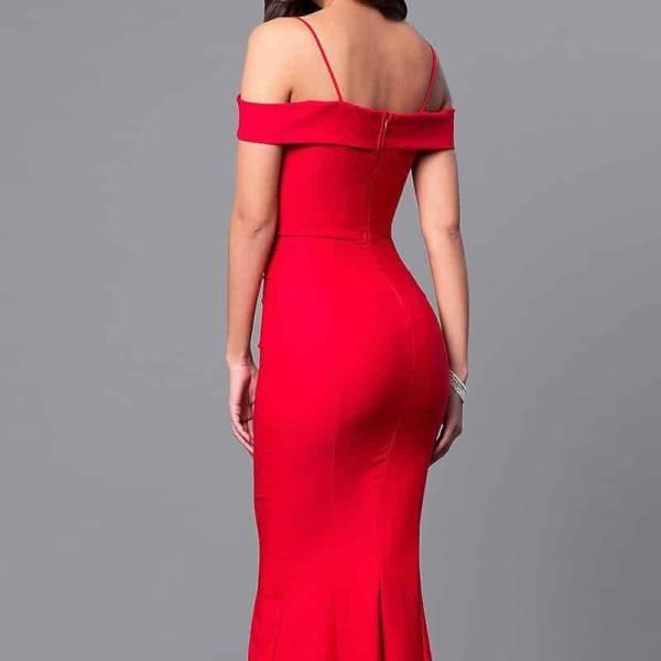 Robe longue sirène, col bateau, épaules dénudées, moulante, rouge, robe de soirée 7