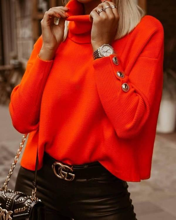 Pull tricoté Vintage à col roulé pour femmes 4