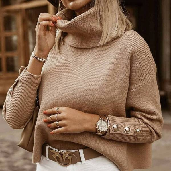 Pull tricoté Vintage à col roulé pour femmes 3