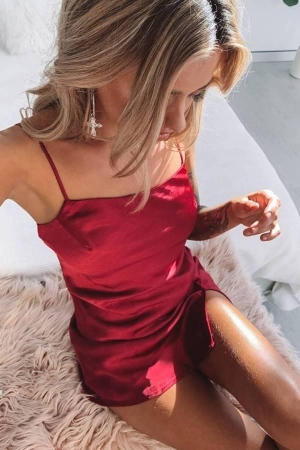 Robe de nuit courte en Satin pour femmes 7