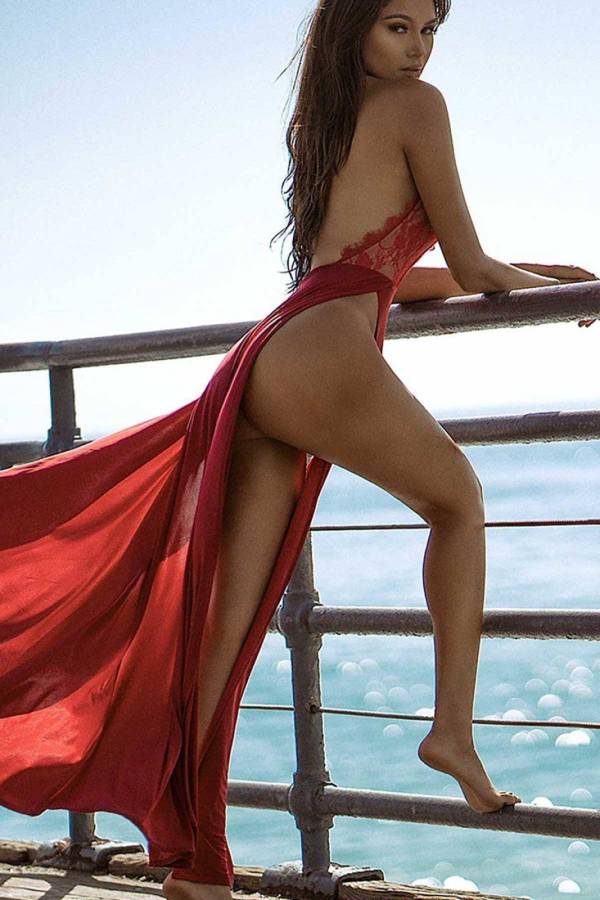 Chemise de nuit longue rouge Sexy pour femmes 7