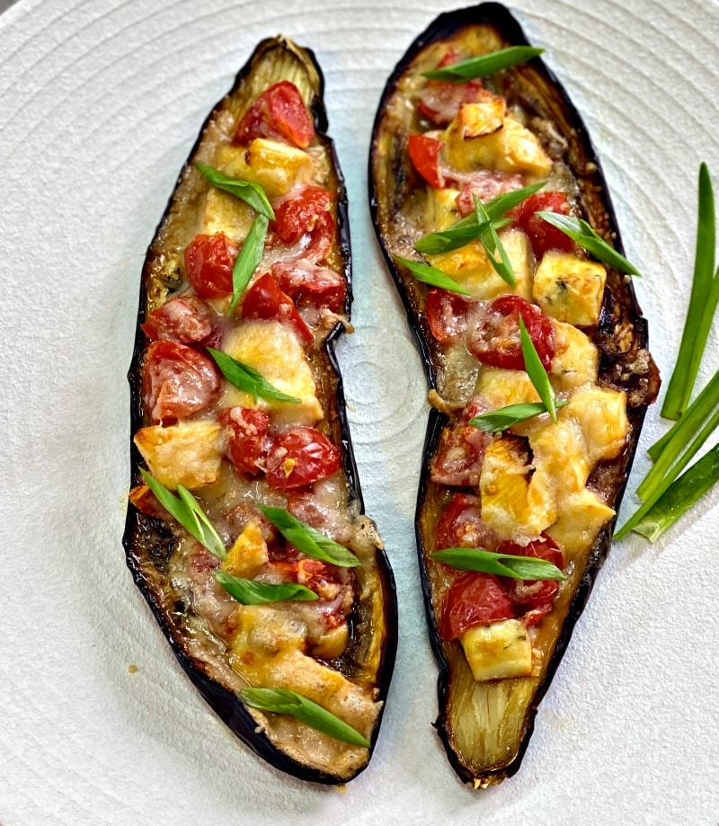 Baked eggplant with brie cheese and parmesan