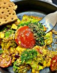 Broccoli and Avocado Salad with tossed sesame oil