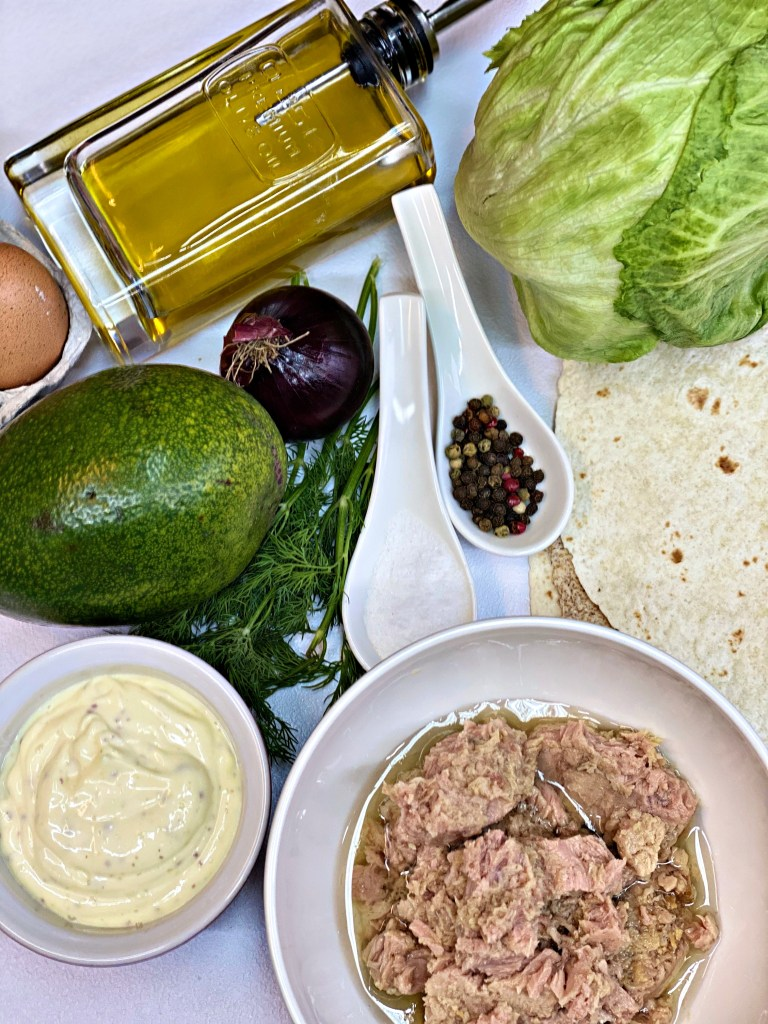 Canned tuna avocado ingredients for tacos