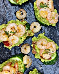 Garlic shrimp and avocado appetizer