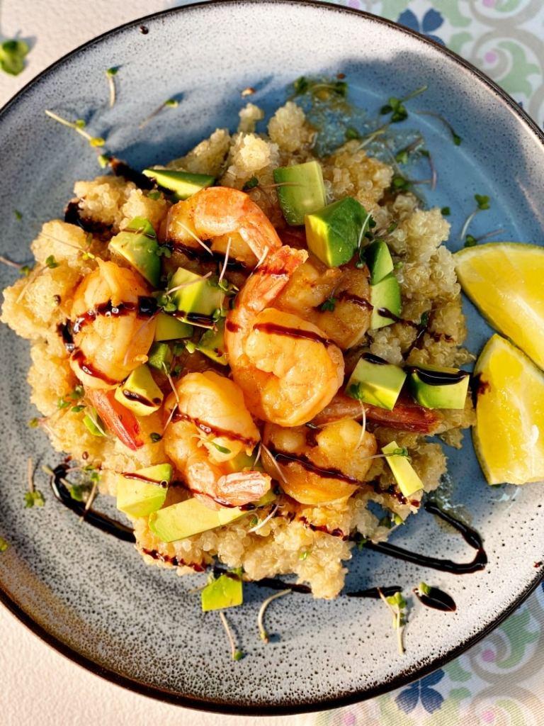 Shrimp Avocado Quinoa Bowl