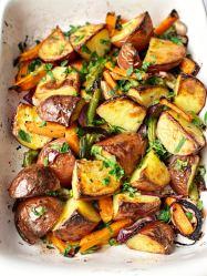 Roasted Garlic Potatoes with Veggies