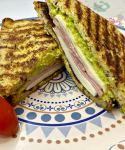 Homemade Toast Sandwich with ham and mozzarella