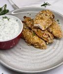 chicken fingers with tzatziki dipping sauce beaufiful plate