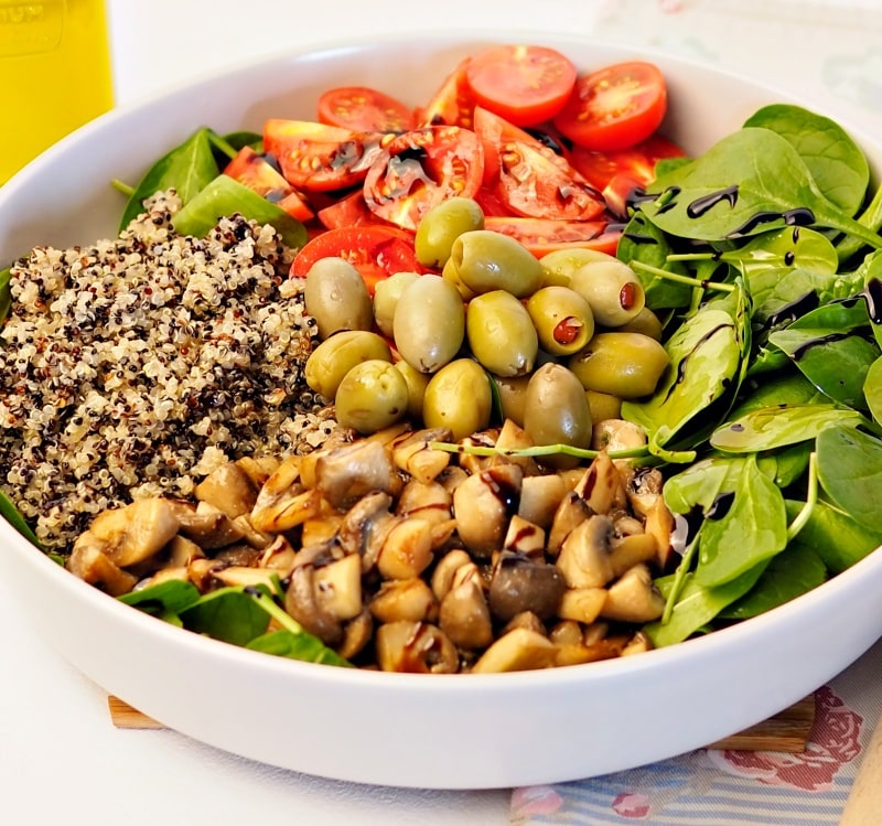 Mediterranean Quinoa Salad with roasted mushrooms