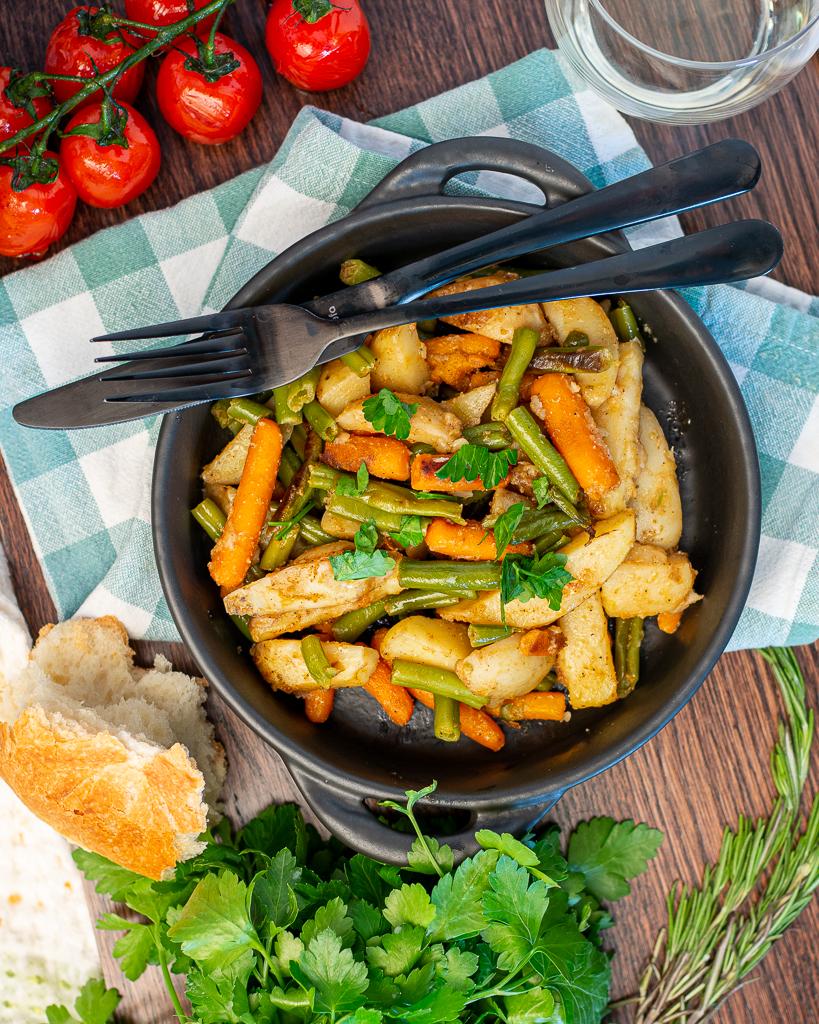 roasted potatoes and veggies