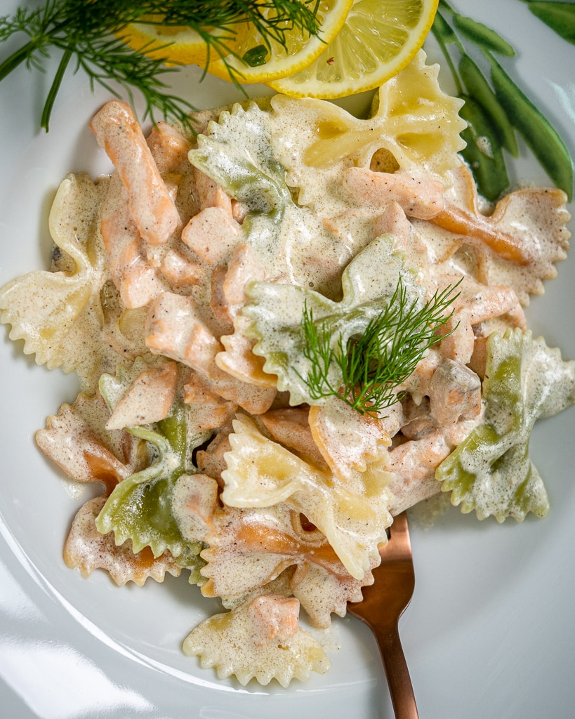 creamy farfalle with salmon