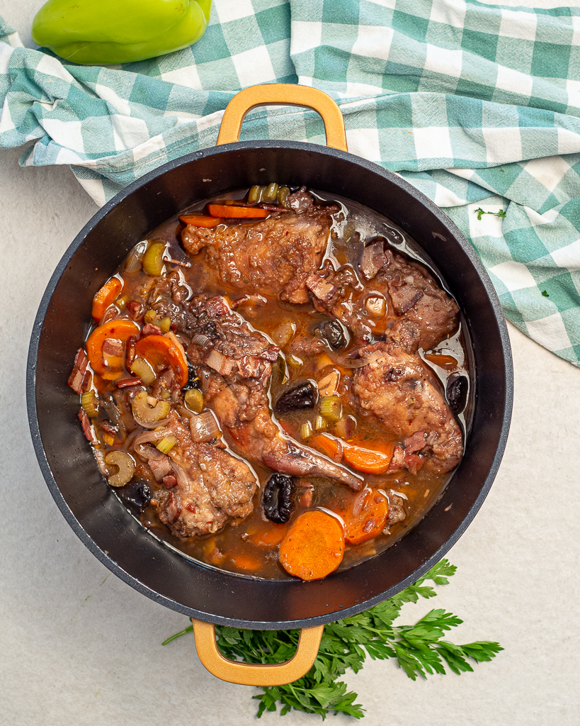 slow cooked rabbit stew