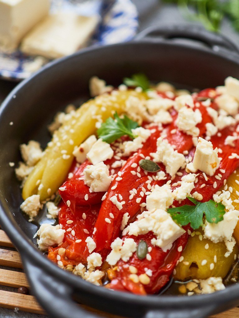 Roasted Bell Pepper Salad with Feta Cheese