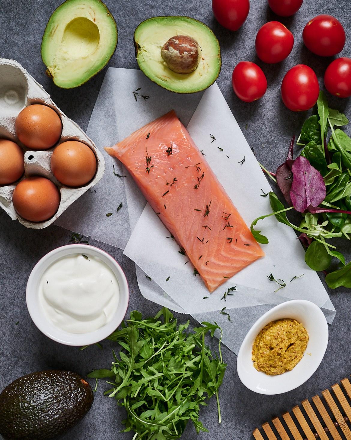 salmon, avocado, eggs