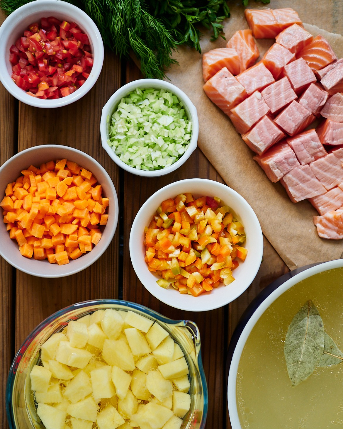 ingredients for salmon soup