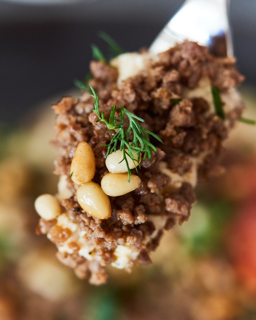 Spiced Ground Beef Topped on Hummus