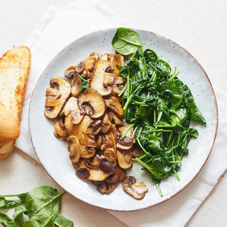 how to cook vegan mushroom spinach baguette