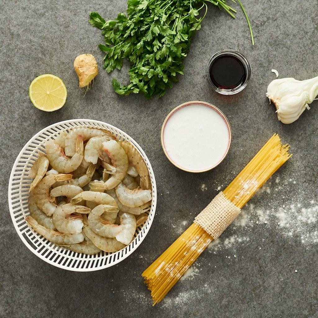 Shrimp Spaghetti with Coconut Milk Ingredients