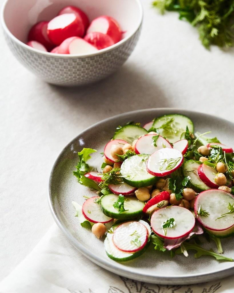 Spring Vegan Chickpea Salad with Radish