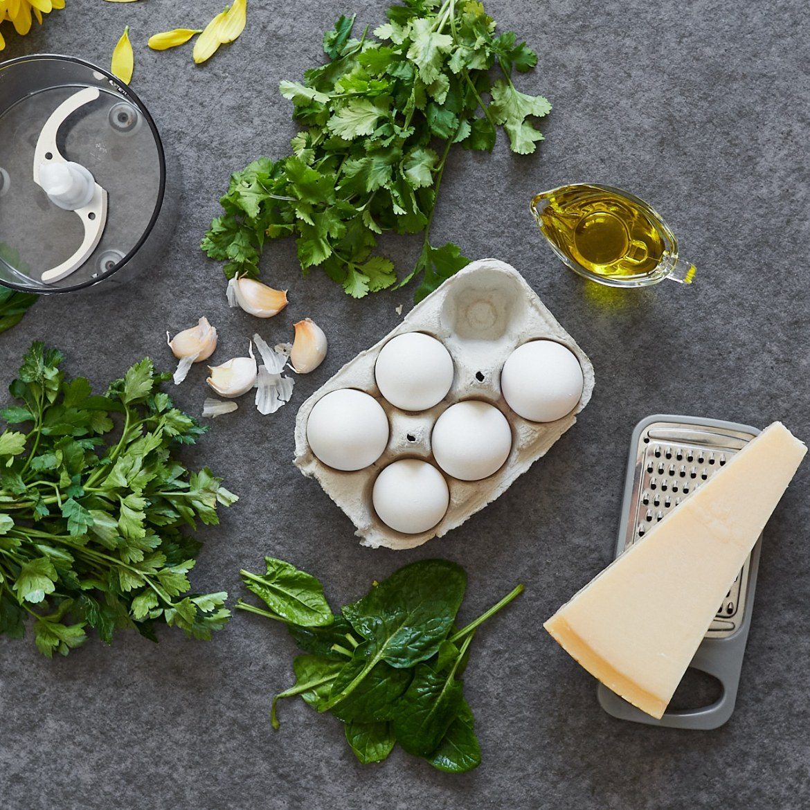 ingredients for chimichurri fried eggs