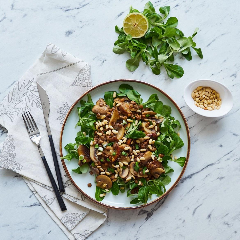 lentil mushroom salad