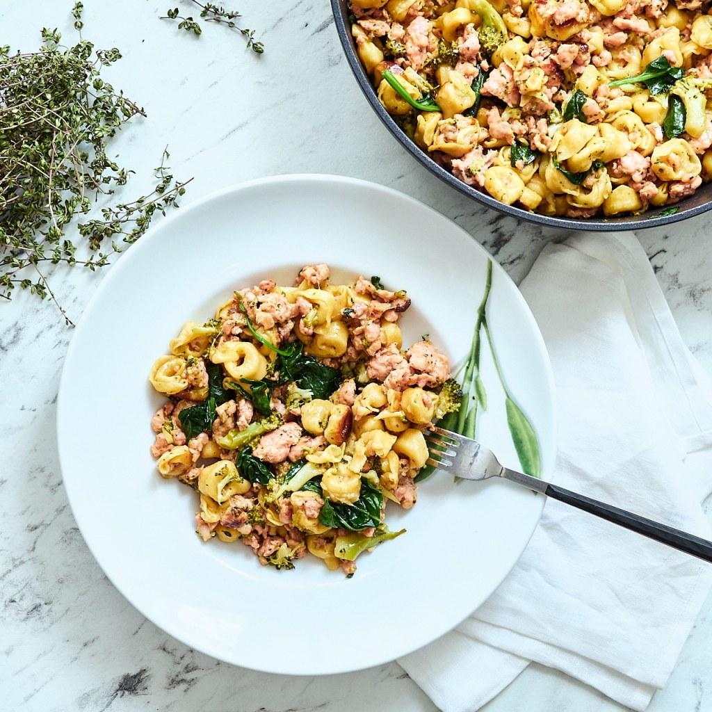 Sausage, Broccoli & Tortellini One-pot