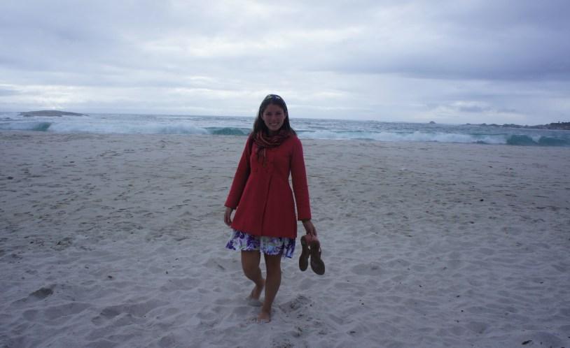 A praia de Camps Bay tem areia fininha e água gelada!