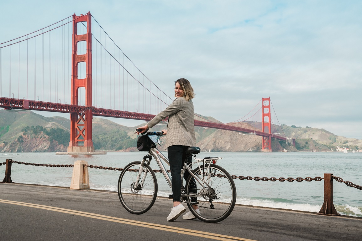 Como é cruzar a Golden Gate Bridge de bicicleta