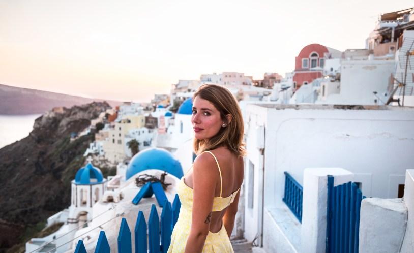 Santorini ao por do sol durante cruzeiro pela Grecia. Raira Venturieri.