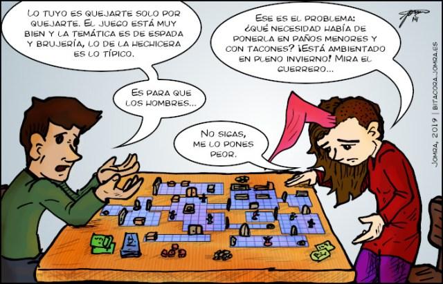 Diálogo sobre la cosificación de la mujer en los juegos de mesa. Dibujo de dos personas que hablan frente a un tablero de juego.
