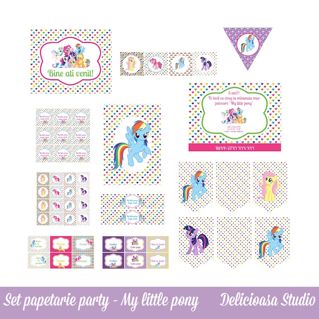 Set papetarie party - my little pony - Delicioasa studio