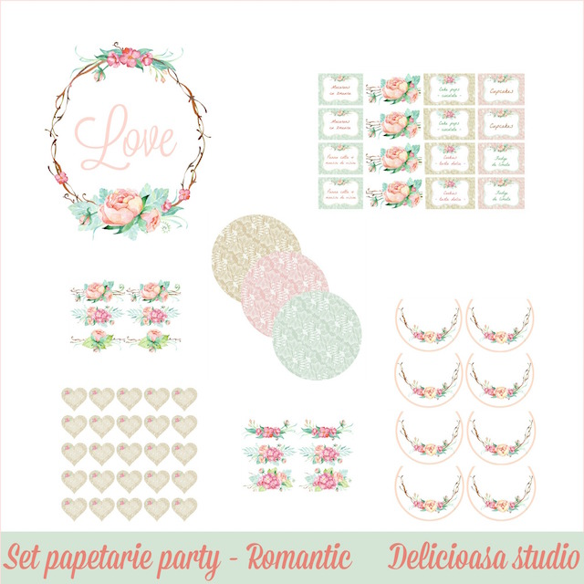 set papetarie party - Romantic