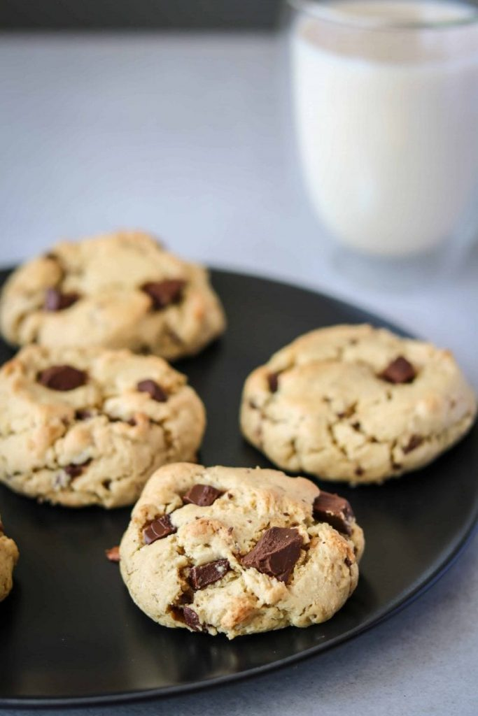 Vegan Chocolate Chip Cookies by Delicious Plants - Our chocolate chip cookies are the perfect sweet treat, they're ready in 20 minutes, use only 1 bowl to make and taste absolutely delicious!