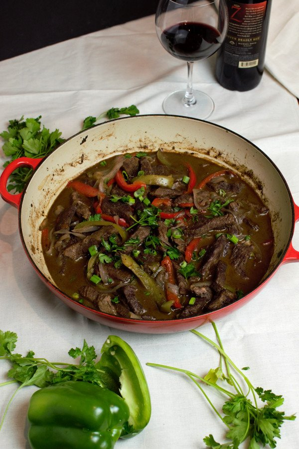 Perfectly finished Pepper Steak. Top with some green onions or fresh parsley to brighten up the dish.