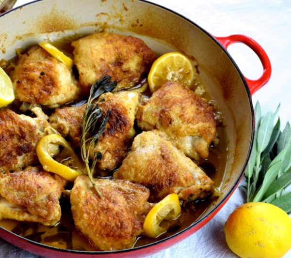 Butter Sage Chicken beautifully braised in a rich lemon butter sauce.