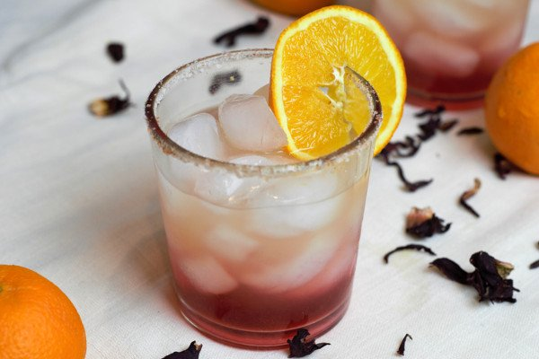 Single Serving Hibiscus Orange Margarita.