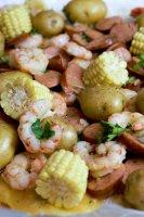 Potatoes,Sausage,  Corn, and  Shrimp on baking sheet