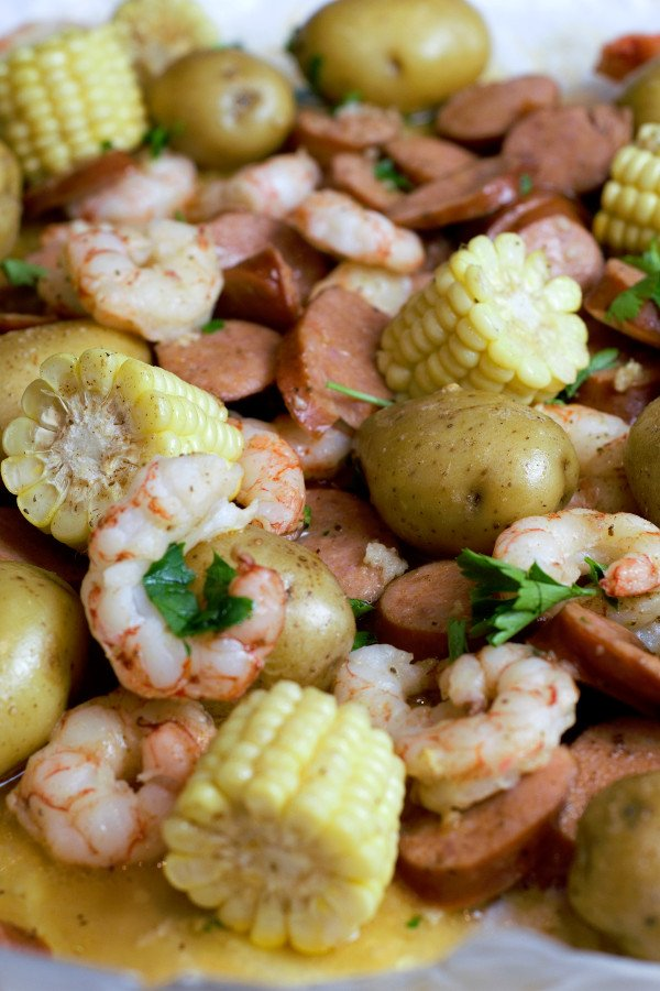 Potatoes,Sausage,  Corn, and  Shrimp on baking sheet